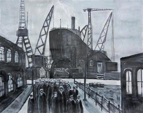 Peter Seiler, South Shields Harbour, Menschen: Gruppe, Gegenwartskunst, Abstrakter Expressionismus