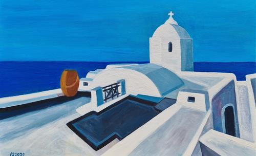Peter Seiler, Santorini view, Landschaft: See/Meer, Gegenwartskunst