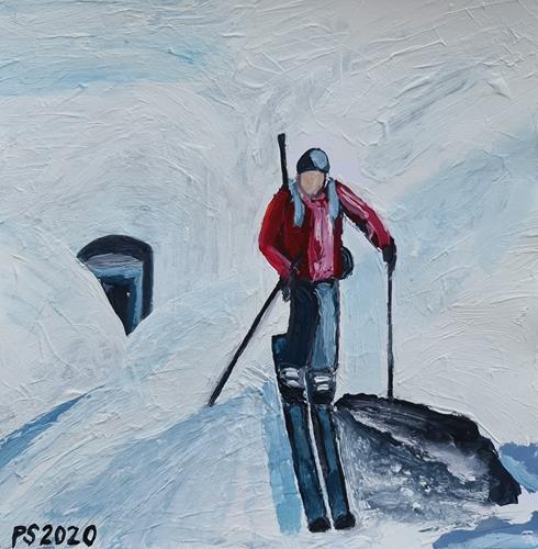 Peter Seiler, Skitour, Menschen: Mann, Landschaft: Berge, Konkrete Kunst