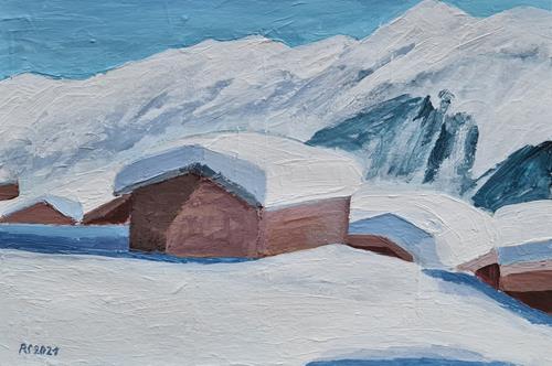 Peter Seiler, Chalets im Schnee, Landschaft: Berge, Neuzeit