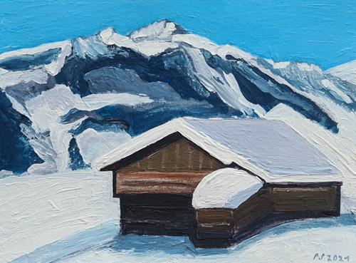 Peter Seiler, Heustadel im Schnee, Landschaft: Berge, Gegenwartskunst
