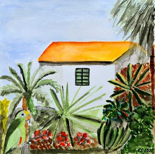 Peter Seiler, Parrot in the garden (Madeira), Landschaft: Tropisch, Gegenwartskunst