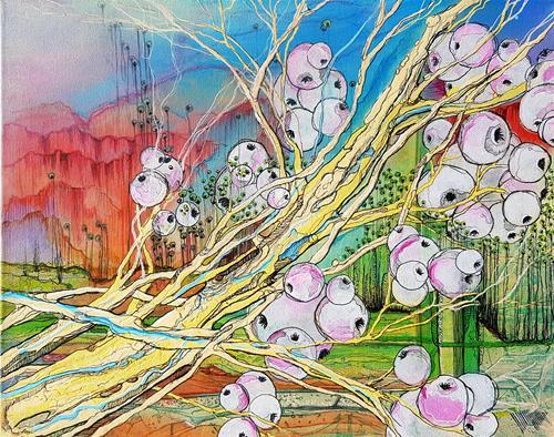 Vera Weber, DIE WEIßE BEERE, Pflanzen: Früchte, Fantasie, Abstrakter Expressionismus, Expressionismus