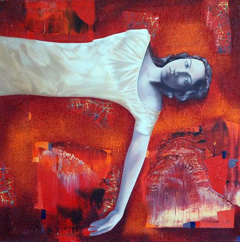 Emil Hasenrick, Figurative, 100 x 100 cm, 1, Menschen: Frau, Abstraktes, Realismus, Abstrakter Expressionismus