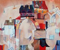 Emil Hasenrick, old city 100 x 120 cm, 1