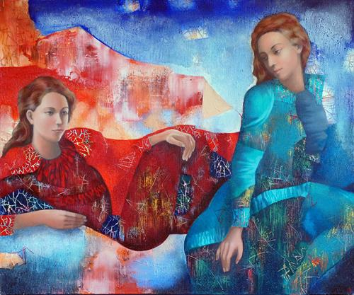 Emil Hasenrick, Figurative, 100 x 120 cm, 2, Menschen: Frau, Menschen: Paare, Realismus