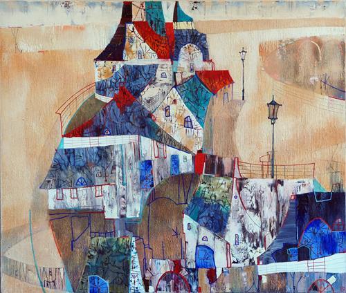 Emil Hasenrick, old city 110 x 130 cm, 1, Architektur, Wohnen: Stadt, Art Déco, Expressionismus
