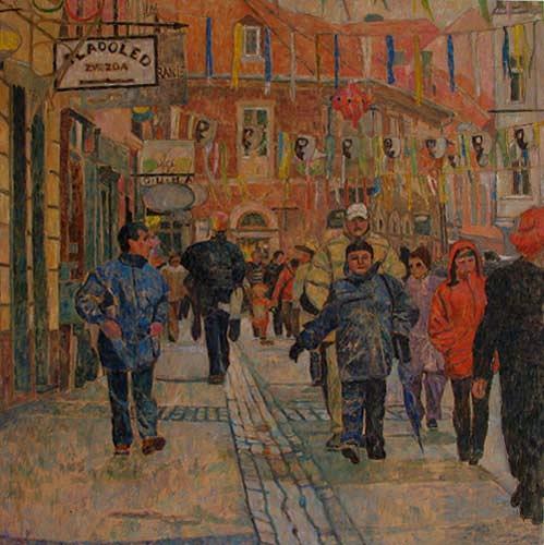 Polona Petek, Fasching I, Karneval, Menschen: Gruppe, Gegenwartskunst, Expressionismus