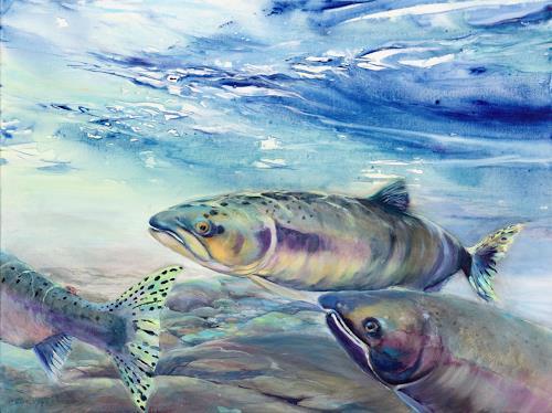 Joseph Wyss, Pink Salmon, Tiere: Wasser, Natur: Wasser, Gegenwartskunst, Expressionismus