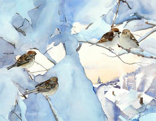Joseph Wyss, Spatzen Meeting, Tiere: Luft, Landschaft: Winter, Gegenwartskunst