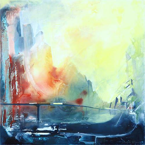 Joseph Wyss, Cityscape, Bauten: Hochhaus, Abstraktes, Gegenwartskunst, Expressionismus