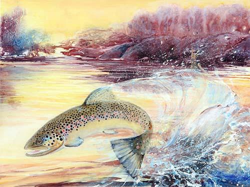 Joseph Wyss, jumping brown trout, Tiere: Wasser, Natur: Wasser, Gegenwartskunst