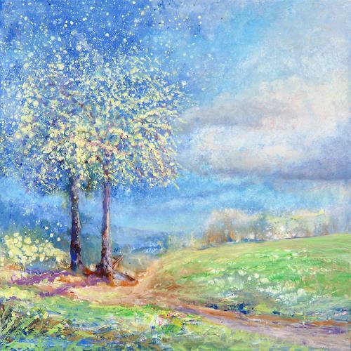 Joseph Wyss, Frühling, Landschaft: Frühling, Natur: Diverse, Gegenwartskunst, Expressionismus