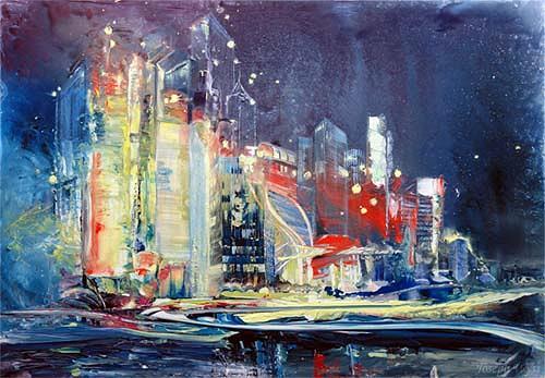Joseph Wyss, City, Abstraktes, Bauten: Hochhaus, Gegenwartskunst