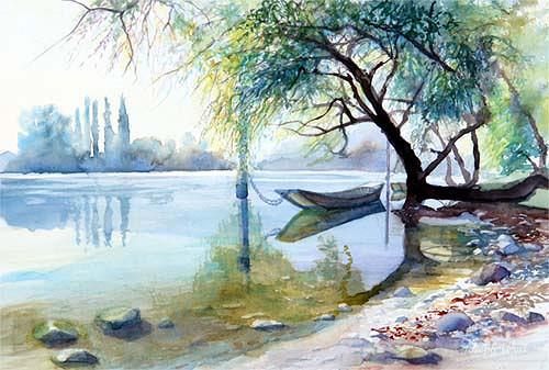 Joseph Wyss, Am Rhein, Landschaft: See/Meer, Diverse Landschaften, Gegenwartskunst, Expressionismus