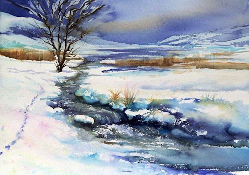 Joseph Wyss, Winter am Bach mit Fuchs, Landschaft: Winter, Tiere: Land, expressiver Realismus, Expressionismus
