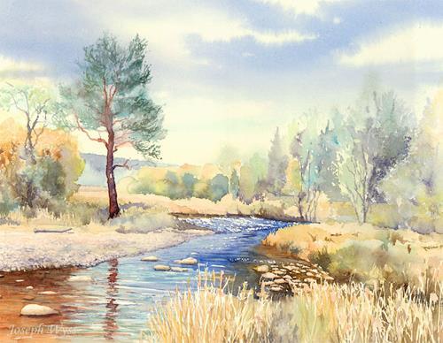 Joseph Wyss, Herbst am Bach, Landschaft: Herbst, Landschaft: See/Meer, Gegenwartskunst, Expressionismus