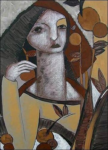 Pablo Peréa, De la serie: Recolectora, Menschen: Frau, Diverse Pflanzen