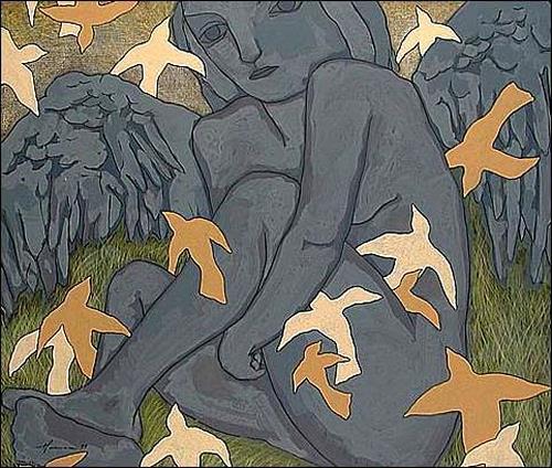 Pablo Peréa, Pájaro y adoración, Akt/Erotik: Akt Frau, Tiere: Luft
