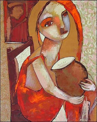 Pablo Peréa, Muchacha Con Jarrón, Menschen: Frau, Poesie, Expressionismus