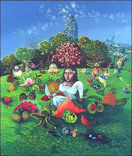 Ramón Vázquez, Aires de Gioconda, Menschen: Frau, Pflanzen: Blumen