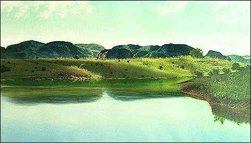 Eduardo Estrada, Tranquilidad en la tarde, Landschaft: See/Meer, Natur: Wasser, Expressionismus