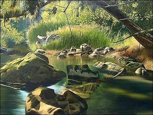 Eduardo Estrada, Piedras en el remanso, Diverse Landschaften, Natur: Wasser, Expressionismus