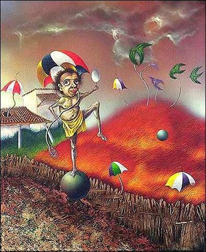 Ulises Hevia Bretaña, El equilibrista, Bewegung, Humor, Expressionismus