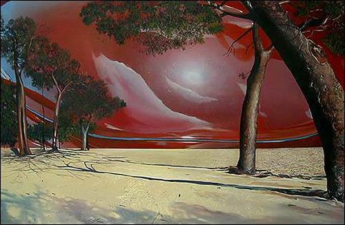 José Buajasán, Paisaje, Landschaft: Strand, Pflanzen: Bäume, Expressionismus