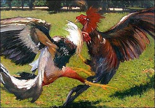 Lorenzo Linares, Paisaje con gallos, Tiere: Land, Diverse Tiere, Expressionismus