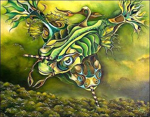 (Héctor Pérez) Chino, Mundo perdido, Tiere: Wasser, Diverse Tiere, Expressionismus