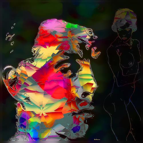 Dieter Bruhns, Schiele, Menschen: Gesichter, Menschen: Mann, Gegenwartskunst, Abstrakter Expressionismus