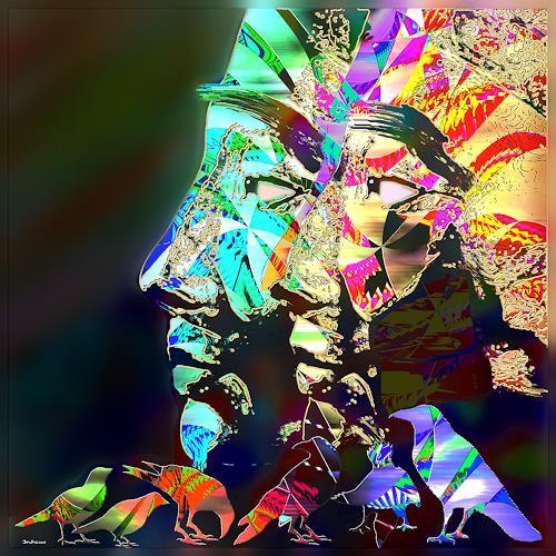 Dieter Bruhns, Nefertiti Twins, Fantasie, Abstrakte Kunst, Abstrakter Expressionismus