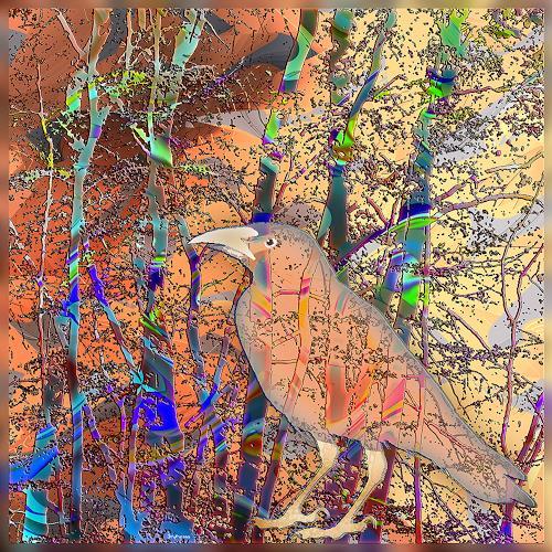 Dieter Bruhns, Bird and Bush, Fantasie, Abstrakte Kunst