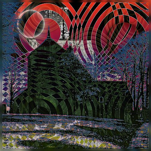Dieter Bruhns, Green Church and Triple Moon, Fantasie, Abstrakte Kunst