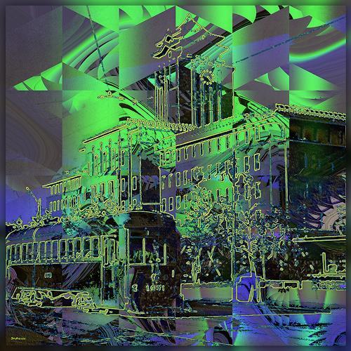 Dieter Bruhns, Urban Scene, Fantasie, Abstrakte Kunst