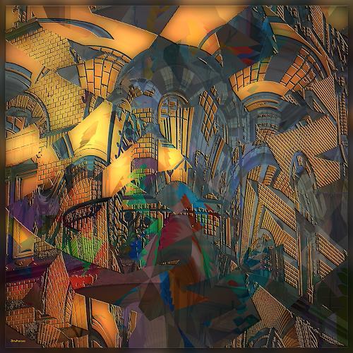 Dieter Bruhns, Balcony, Fantasie, Abstrakte Kunst