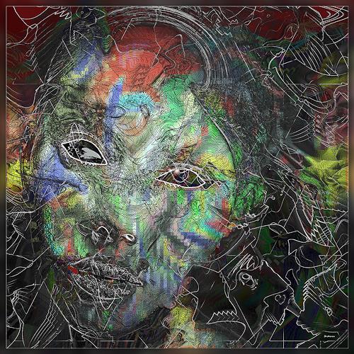 Dieter Bruhns, Female Mask, Fantasie, Abstrakte Kunst, Abstrakter Expressionismus