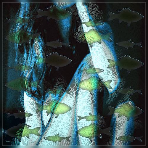 Dieter Bruhns, Mermaid, Fantasie, Abstrakte Kunst, Expressionismus