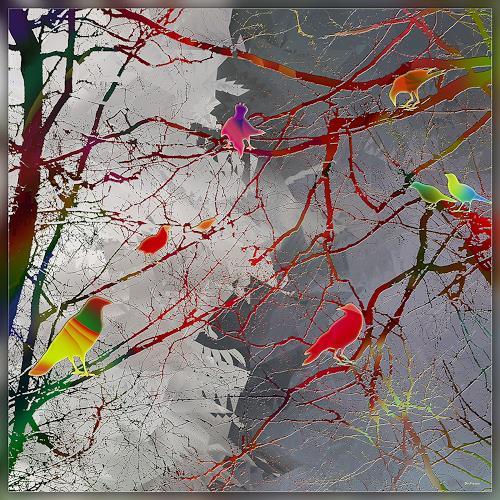Dieter Bruhns, Under Clouds, Fantasie, Abstrakte Kunst, Abstrakter Expressionismus