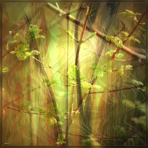Dieter Bruhns, Growing Leaves, Fantasie, Abstrakte Kunst, Expressionismus