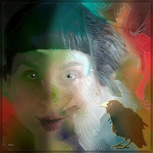 Dieter Bruhns, Female Portrait, Fantasie, Abstrakte Kunst, Abstrakter Expressionismus