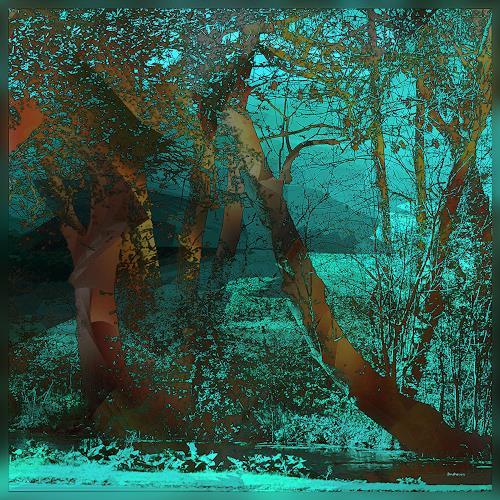 Dieter Bruhns, Park, Fantasie, Abstrakte Kunst, Abstrakter Expressionismus