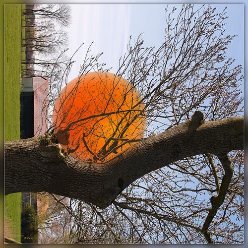 Dieter Bruhns, Red Sphere, Landschaft, Abstrakte Kunst