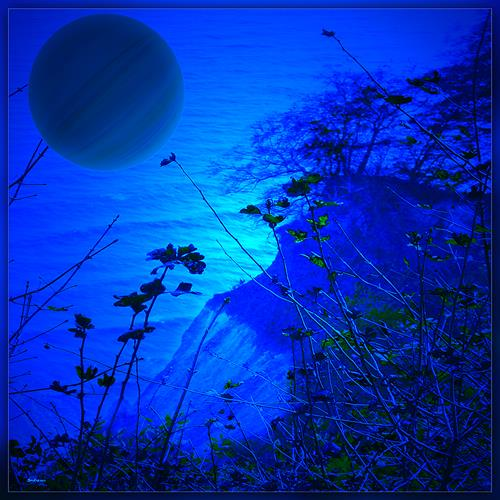 Dieter Bruhns, Blue Cliff, Landschaft, Abstrakte Kunst