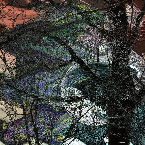 Dieter Bruhns, Behind the Old Tree, Landschaft, Abstrakte Kunst
