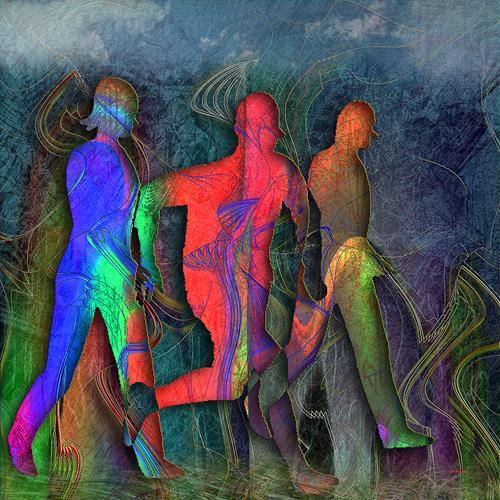 Dieter Bruhns, Walking Tour, Menschen, Abstrakte Kunst, Abstrakter Expressionismus