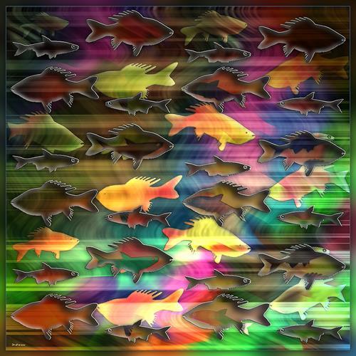 Dieter Bruhns, .Fishes, Tiere, Abstrakte Kunst
