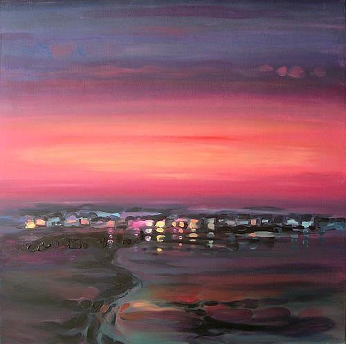 Diana Krasselt, Sommerabend IV, Landschaft: See/Meer, Romantik: Sonnenuntergang, Gegenwartskunst