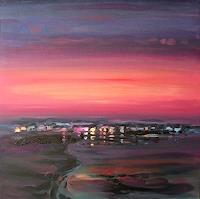 Diana-Krasselt-Landschaft-See-Meer-Romantik-Sonnenuntergang-Gegenwartskunst--Gegenwartskunst-